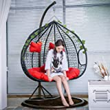 Creative PE Rattan Weave Double Person Seat Swing Hanging Chair with Handrail Home Balcony Living Room Leisure Lazy Lounge Ch