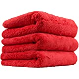 "Chemical Guys MIC34103 Microfiber Final Finish Edgeless Towel, 16"" x 16"" (3 Piece) Red"