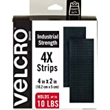 "VELCRO Brand - Industrial Strength Fasteners, 2"" x 4"" Strips, 4 Sets, Black"