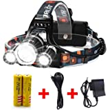 Best LED Headlamp Flashlight 10000 Lumen - IMPROVED LED with Rechargeable 18650 Battery, Bright Head Lights,Waterproof Hard H