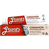 Grants Cinnamon Natural Mild Gentle Fluoride Free Toothpaste with Orange & Neem, Vegan, Safe for Kids 6+, Adults, Dental & Or