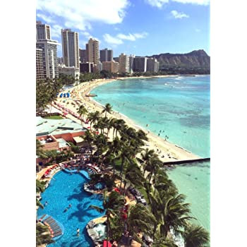 絵画風 壁紙ポスター (はがせるシール式) ハワイ ワイキキ ビーチ オアフ島 海 キャラクロ HWI-002A2 (A2版 420mm×594mm) 建築用壁紙+耐候性塗料