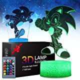 2 Patterns Sonic The Hedgehog 3D Illusion Lamp - Sonic Toys LED Night Light for Kids Room Decor, 16 Color Change with Remote