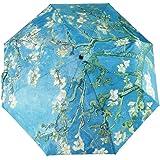 Glodeals 3段式 自動開閉折り畳み傘 8本骨傘 晴雨兼用折畳傘 傘 UVカット女性用 ゴッホ油絵傘 (Almond Blossom)