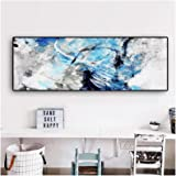 Print on Canvas Blue Abstract Geometry Line Painting Canvas Art Posters Wall Picture for Living Room (60X180cm) Frameless