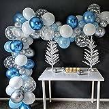 LDFWAYAU Balloon Garland Arch Kit Metallic Blue White Confetti Snowflake Latex Balloons for Christmas Baby Shower Birthday Pa