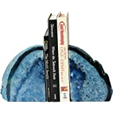Amoystone Blue Agate Bookends 2-3 lbs Polished Dyed Books 1 Pair Rubber Bumpers