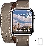 WFEAGL 兼容 Apple Watch 表帶,使用真皮, iwatch series 6/5/4/3/2/1,SE 皮革制,Sport/Edition 表帶替換表帶 兼容兼容表帶(38毫米 40毫米,雙層卷型 駝棕色+銀色適配器)