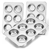 Muffin Pan Set of 3, E-far Stainless Steel Muffin Pan Tin for Baking, 6-Cup Metal Cupcake Pan Tray, Non-toxic & Healthy, Oven