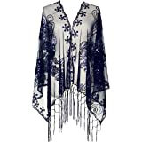 Zakia Women's Sequin Mesh Scarf 1920s Cape Fringed Evening Glittering Shawl Wrap for Wedding or Party