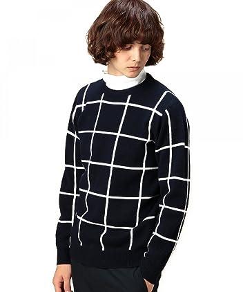 Wool Windowpane Crewneck Sweater 1213-117-3000: Navy