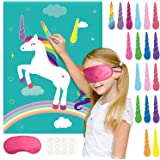 FEPITO Pin The Horn on The Unicorn Birthday Party Game with 24 Horns and 15PCS Unicorn Balloons for Unicorn Party Supplies, K