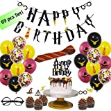 Wizard Style Happy Birthday Banner and Magician Party Decorations Supplies Set - Total 69 pcs of Magical Decor Stuff