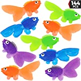Plastic Vinyl Goldfish - 144 Pcs, 2 Inches Long Gold Fish Toys in Assorted Colors for Party Favors, Carnival Kids Prizes, Dec