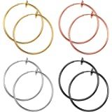 ORAZIO 4 Pairs Stainless Steel Fake Hoop Earrings for Woman Men Big Clip On Hoop Earrings Set Non-Pierced Ear Jewelry 30/40/5