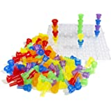 Think Fast Toys - Translucent Pegs on Clear Board for Toddlers - Teaches Early Color, Sorting, and Counting Skills