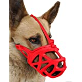 Dog Muzzle, Breathable Basket Muzzles for Small, Medium, Large and X-Large Dogs, Stop Biting, Barking and Chewing, Best for A