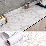 VEELIKE White Gray Marble Wallpaper 40cmx9m Contact Paper Self Adhesive Film Covering Peel and Stick Paper for Kitchen Backsp