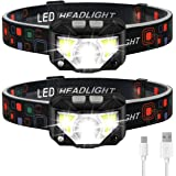Headlamp Flashlight, LHKNL 1100 Lumen Ultra-Light Bright LED Rechargeable Headlight with White Red Light, 2-PACK Waterproof M