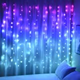 Curtain Lights Pink Blue Purple Fairy Lights for Bedroom Wall Hanging Christmas Lights Twinkly for Teen Girls Unicorn Mermaid