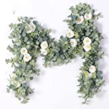 Australove Artificial Eucalyptus Garland with Champagne Rose- Floral Garland Eucalyptus Leaves for Wedding Backdrop Wall Deco