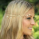 Aukmla Alloy Headbands for Women, Head Chain with Sequines?