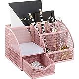 Blu Monaco Unique Metal Pink Desk Organizer with Drawer