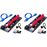 2 x BulletProof Mining Graphics Card PCIe VER 009S 16x to 1x Riser Adapter Card w/ USB 3.0 & 6-Pin PCI-E to SATA (2 Pack) - G