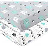 (crib sheet, grey teal animal) - Stretchy Fitted Crib Sheets Set-Brolex 2 Pack Portable Crib Mattress Topper For Baby Boys Gi