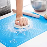 Silicone Baking Mat for Pastry Rolling with Measurements, Liner Heat Resistance Table Placemat Pad Pastry Board, Reusable Non