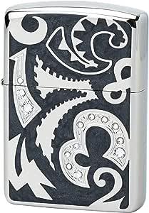 ZIPPO(ジッポー) ライター ブラック アーマー ニューダイアル 深彫り彫刻 ラインストーン装飾 ダイアノシルバー CRZ-BK