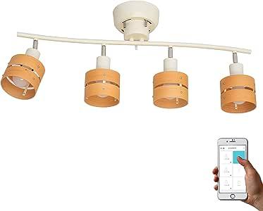 トリゴ(TOLIGO) スマートシーリングライト レダ 4灯 スマホ操作 お洒落 タイマー設定 6畳 8畳 LED対応 スポットライト 角度 リビング用 寝室 TLG-S001 WLN ホワイト×ライトナチュラル