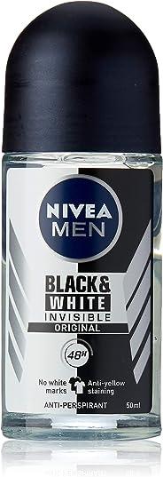 NIVEA MEN Invisible Black And White Roll On Antiperspirant Deodorant 50ml