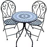 Patio Setting Romina Mosaic Metal 3 Piece Bistro Balcony Garden Furniture Outdoor Home Decor
