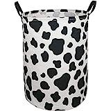 KUNRO Large Sized Round Storage Basket Waterproof Coating Organizer Bin Laundry Hamper for Nursery Clothes Toys (Cow pattern)