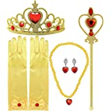 Tacobear Princess Dress Up Accessories Gift Set for Belle Crown Scepter Necklace Earrings Gloves, Yellow, 5 Pieces