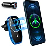 Magnetic Wireless Car Charger Compatible with iPhone 12/12 Pro/ 12 Mini/ 12 Pro Max/Mag-Safe Case, 360° Rotation Auto-Alignme