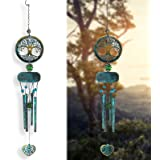 Wind Chimes Outdoor Deep Tone, Tree of Life Memorial Wind Chimes, Retro Windchimes Unique Outdoor Gifts, 27 inch Windchimes w