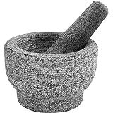 Mortar and Pestle Set, Unpolished Genuine Granite Molcajete Grinder for Guacamole, Herbs, Pesto, Salsa, Spices, Seasonings, 6