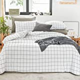 Ntyaxin Home Duvet Cover Set 3 Piece White Black Buffalo Plaid (1 Duvet Cover +2 Pillowcase) Grid Comforter Cover Ultra Soft