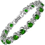 [RIZILIA BLOSSOM] Tennis Bracelet [18cm/7inch] with Round Cut CZ [6 Colors available] in White Gold Plated, Simple Modern Ele