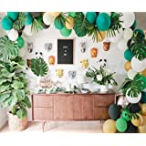 Jungle Safari Theme Party Decorations 174pcs:130 latex balloons,24 Green Palm Leaves, 16 feets Arch Balloon strip tape, 2 Bal