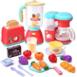 CUTE STONE Kitchen Appliances Toy,Kitchen Pretend Play Set with Coffee Maker Machine,Toaster,Blender with Realistic Light,Pla