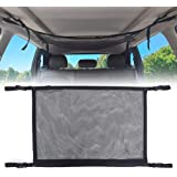 Car Ceiling Storage Net, Universal Car Roof Interior Cargo Net Bag with Zipper, Car Trunk Storage Organizer Sundries Storage