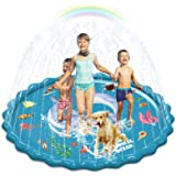 """Abida Splash Pad, 67"""" Size Outside Sprinkler Play Mat for Kids, Extra Large Party Infant Wading Pool Fun Summer Outdoor Water"""