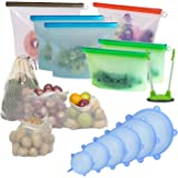 Eco Friendly Reusable Silicone Food Storage Bags, Leak Proof 17 Piece Bundle Set, Organic Vegetable & Fruit Mesh Bags | Stret
