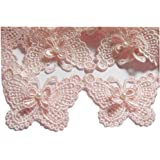 "YYCRAFT Butterfly 3"" Lace Edge Trim Wedding Applique DIY Sewing-Baby Pink(5 Yards)"
