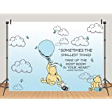 TJ Wininie The Pooh Backdrops Light Blue Hot Air Kids Baby Shower Birthday Party Photography Background White Clounds Butterf