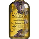 Lavender Multi-Use Oil for Face, Body and Hair - Organic Blend of Apricot, Vitamin E, Fractionated Coocnut and Sweet Almond O