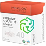 Organic Soapnut Powder by Merlion Naturals | Sapindus mukorossi | NPOP India and USDA NOP Certified 100% Organic | For Shiny